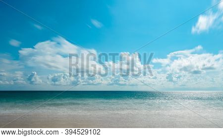 Background Of Andaman Sea, Sand, Beach With Blue Sky, White Cloud And Copy Space In Summer At  Phuke