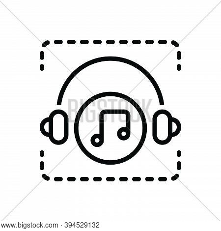 Black Line Icon For Song Chanson Lyrics Sonnet  Warble Melody Tune Music Headphone