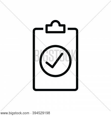 Black Line Icon For Assess Compliance Checkmark Review Result Report Document Paper Statement Resear