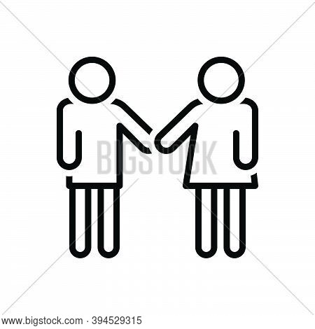 Black Line Icon For Friendly Affable Folksy Chummy Neighbourly Downstage Hail-fellow Buddy Together