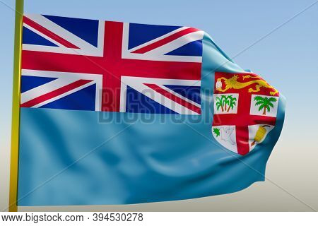 3d Illustration Of The National Flag Of Fiji On A Metal Flagpole Fluttering Against The Blue Sky.cou