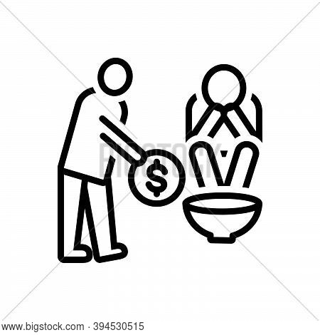 Black Line Icon For Poor Indigent Poverty-stricken Penurious Help Penniless Beggarly Hapless Poverty