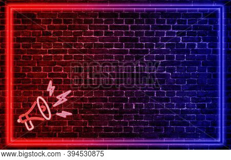 Business Communication And Marketing Concept : Megaphone Icon Symbol On Brick Wall Grunge Texture Ba