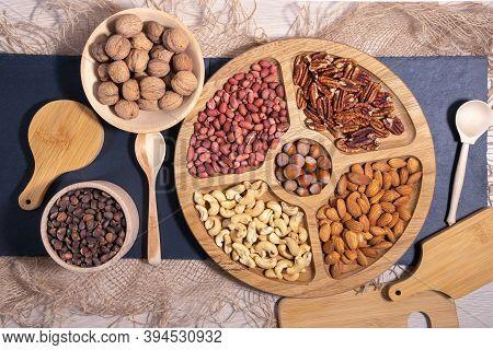 Mix Of Nuts Top View. Walnuts, Cashew, Almond, Pecan, Hazelnut, Peanuts Healthy Various Super Food S