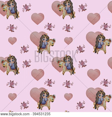 Cute Kids Collection. Seamless Pattern. Little Girl Princess With A Crown And Long Hair On A Unicorn
