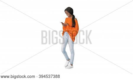 Pretty African American Woman In Bright Jumper Dictating Message