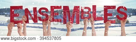 People Hands Holding Ensembles Means Stronger Together, Snowy Winter Background