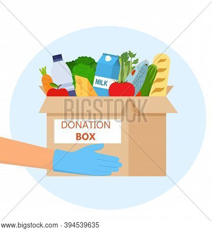 Food Donation To People. Humanitarian Aid Application. Charity Volunteer Holding A Donation Box With