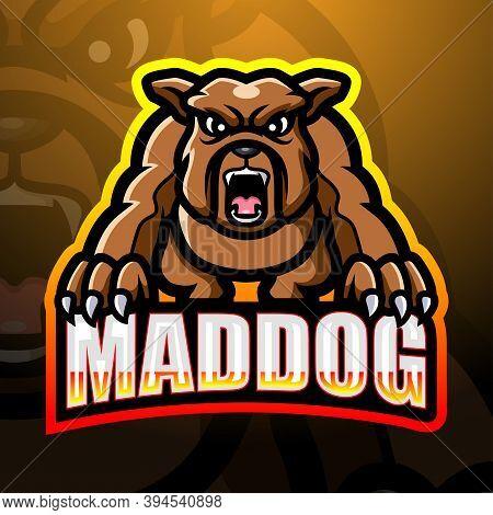 Vector Illustration Of Mad Dog Mascot Esport Logo Design