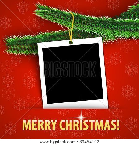 Merry Christmas Greeting Card With Blank Photo Frame