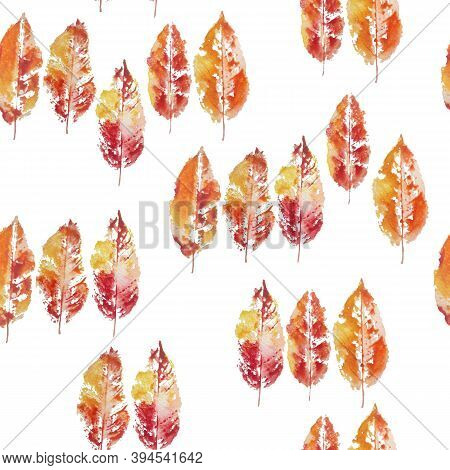 Seamless Watercolor Hand Drawn Pattern Of Stamp Imprint Grunge Fall Autumn Leaf Leaves. Bright Orang