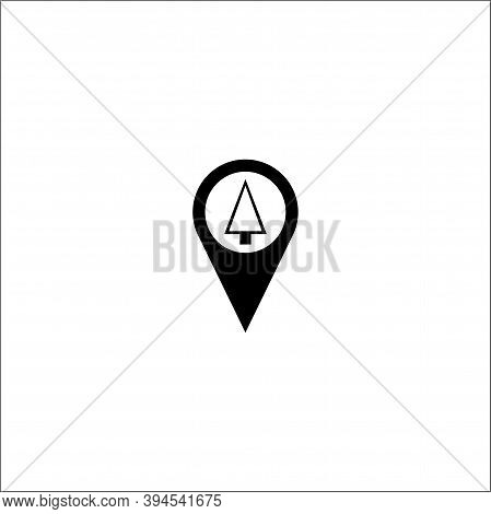 Black Map Pointer Icon With Triangle Christmas Tree On White Background, Map Pin Flat Design Style M