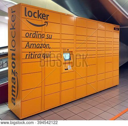 Bologna / Italy - November 10, 2020: Italian Amazon Delivery Locker. (translation For Italian Words: