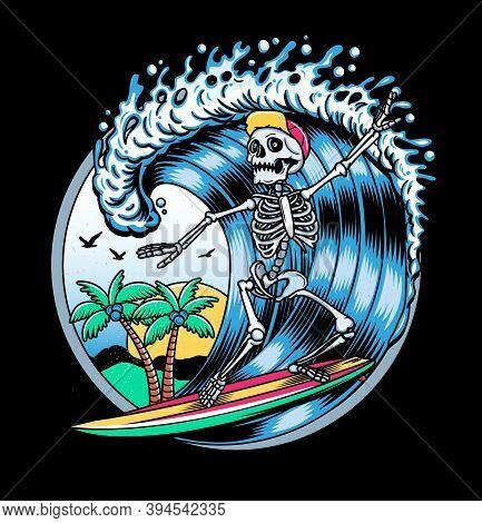 Surfing T-shirt Vector Designs. Vector Logo Illustration With Skeleton Surfer. Vintage Surfing Emble