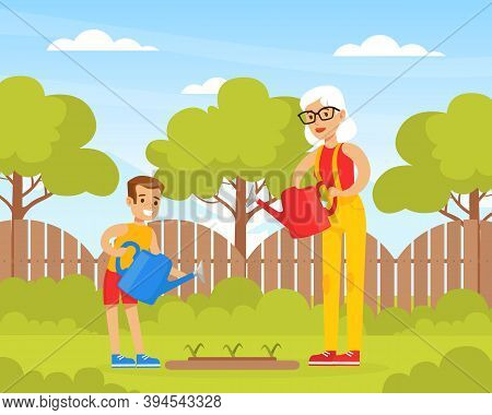 Grandmother And Grandson Watering Trees In The Backyard, Grandma Spending Time With Grandchild Carto