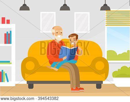 Grandpa Reading Book To His Grandson, Grandfather Spending Time With Grandchild Cartoon Vector Illus