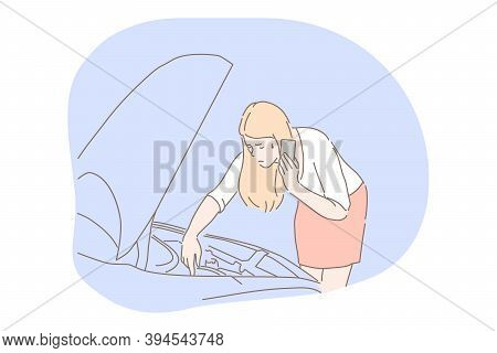 Women And Car Breakdown Concept. Young Unhappy Frustrated Woman Driver Cartoon Character Standing Ne