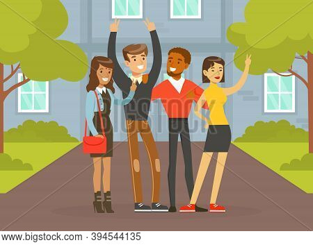 Happy People Of Various Nationalities And Cultures Standing Together On Street, Social Diversity, In