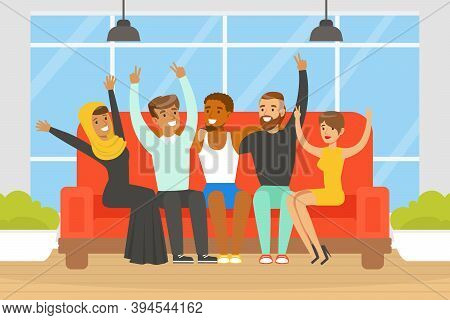 Happy People Of Various Nationalities And Cultures Sitting Together On Sofa, Social Diversity, Indep