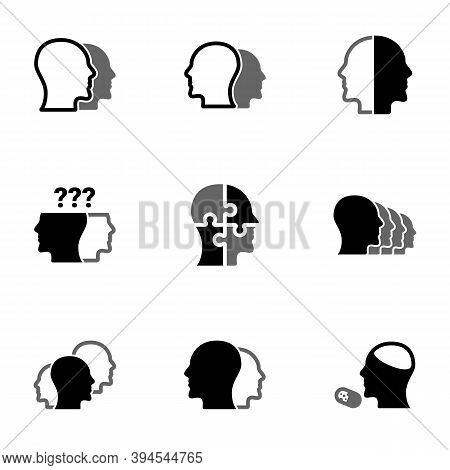 Set Of Simple Icons On A Theme Schizophrenia, Mental Health, Psychology , Vector, Set. White Backgro