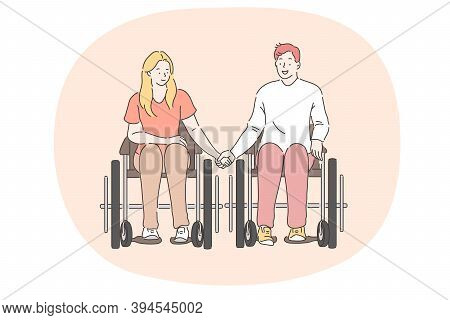 Disabled People On Wheelchair Living Happy Active Lifestyle Concept. Young Disabled Happy Couple Car