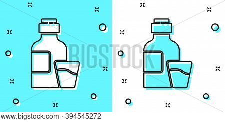 Black Line Bottle Of Medicine Syrup And Dose Measuring Cup Solid Icon Isolated On Green And White Ba