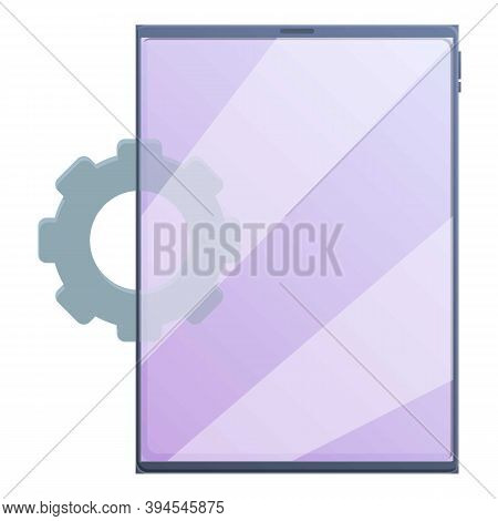 System Update Tablet Icon. Cartoon Of System Update Tablet Vector Icon For Web Design Isolated On Wh