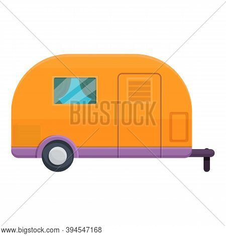 Motorhome Camp Trailer Icon. Cartoon Of Motorhome Camp Trailer Vector Icon For Web Design Isolated O