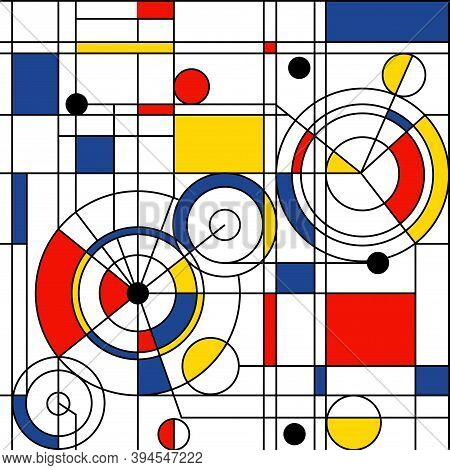 Modern Seamless Pattern In The Style Of Neoplasticism, Bauhaus, Mondrian. Perfect For Interior Desig