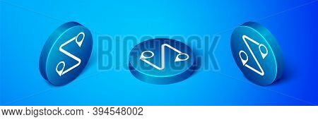 Isometric Route Location Icon Isolated On Blue Background. Map Pointer Sign. Concept Of Path Or Road