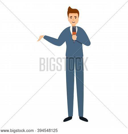 Professional Broadcast Reportage Icon. Cartoon Of Professional Broadcast Reportage Vector Icon For W