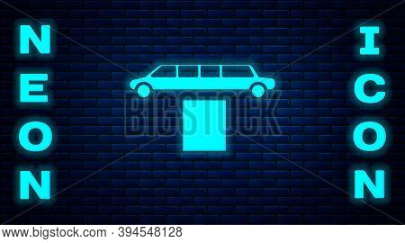Glowing Neon Luxury Limousine Car And Carpet Icon Isolated On Brick Wall Background. For World Premi