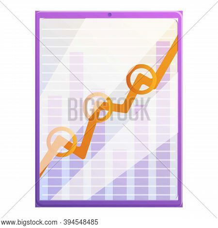 Tablet Monetization Graph Icon. Cartoon Of Tablet Monetization Graph Vector Icon For Web Design Isol