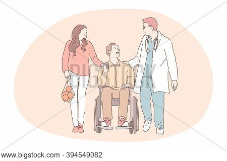 Disabled People On Wheelchair Living Happy Active Lifestyle Concept. Smiling Positive Young Man Cart