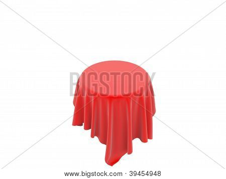 Round Table Covered With A Red Cloth