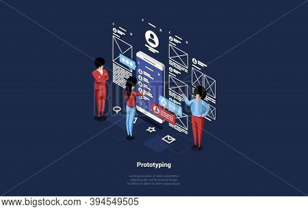 3d Vector Art Of Mobile Application Development, Testing And Prototyping Process. Isometric Illustra