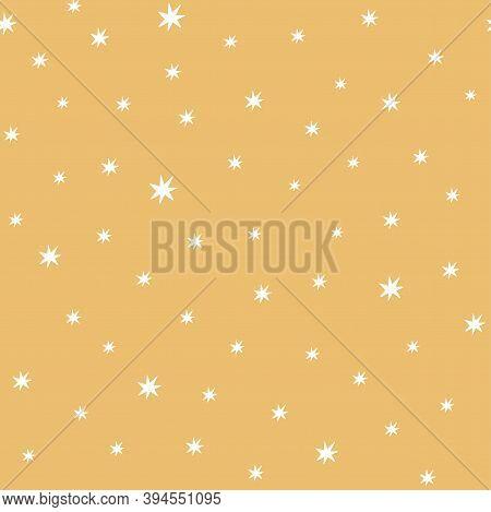 Stars Pattern. Yellow Seamless Pattern Decoreted Cute Simple Stars Kids, Nursery, Baby Shower Sweet