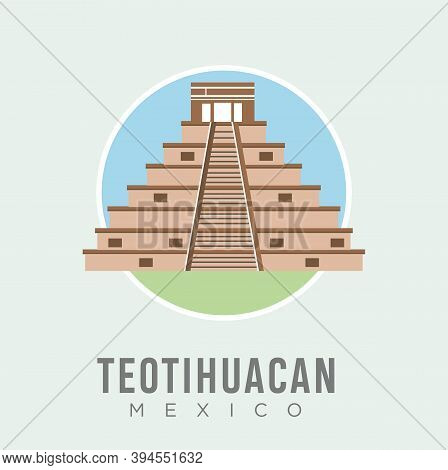 The Teotihuacan Pyramids In Mexico Design Vector Stock Illustration, North America. Ancient Stepped