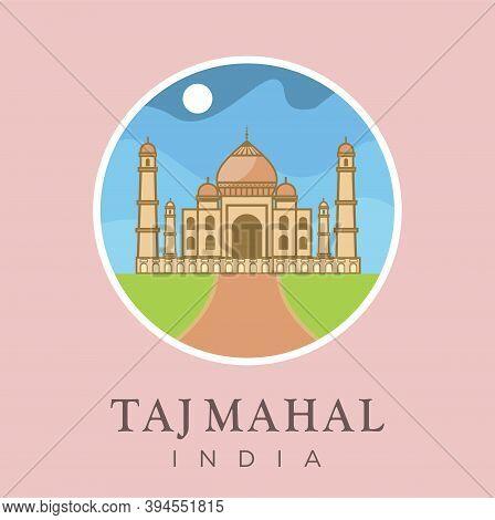 Taj Mahal, Agra, Uttar Pradesh, India Landmark Design Vector Illustration. India Travel And Attracti
