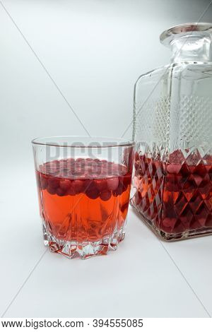 Homemade Tincture Of Red Cherry. Berry Alcoholic Drinks Concept. Homemade Red Wine Made From Ripe Ch