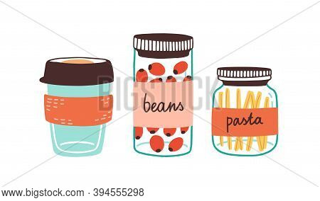 Colorful Set Of Reusable Containers With Food Ingredients And Eco Coffee Cup Isolated On White. Dura