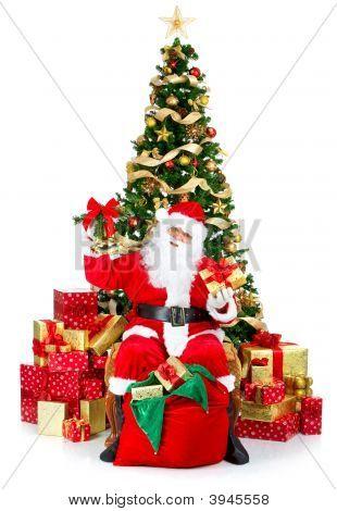 Smiling Santa And Christmas Tree