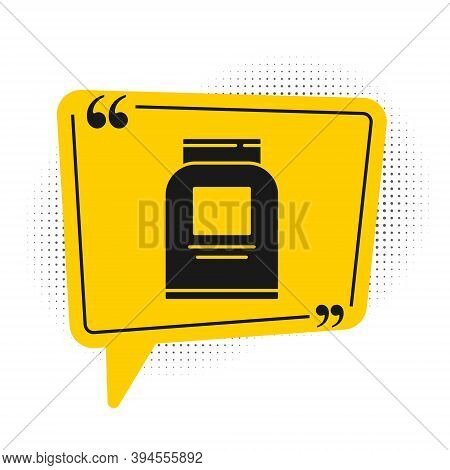 Black Sports Nutrition Bodybuilding Proteine Power Drink And Food Icon Isolated On White Background.