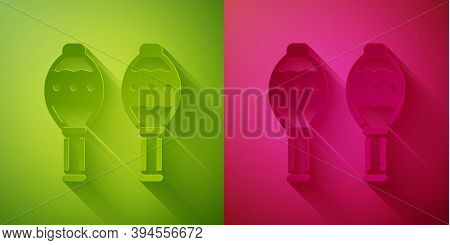 Paper Cut Maracas Icon Isolated On Green And Pink Background. Music Maracas Instrument Mexico. Paper