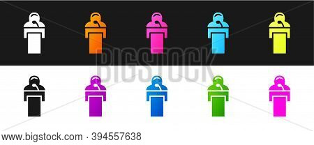 Set Gives Lecture Icon Isolated On Black And White Background. Stand Near Podium. Speak Into Microph