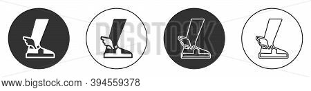 Black Hermes Sandal Icon Isolated On White Background. Ancient Greek God Hermes. Running Shoe With W