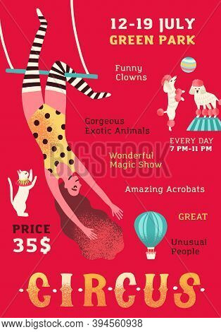 Cirque Performance Promo Poster. Vertical Advertising Template With Woman Equilibrist And Trained An