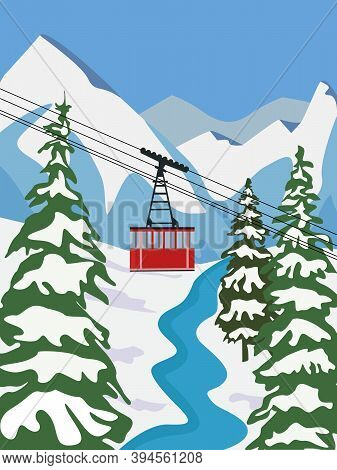 Ski Resort For Vacation With Lift, Aerial Flat Vector Illustration. Winter Outdoor Sports Activities