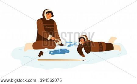 Eskimo People In Traditional Winter Costumes Sitting And Fishing At Snowy Ice Hole. Alaskan Fisherma