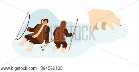 Eskimo People Hunting Wild Polar Bear With Lance And Bow. Inuit Hunters In National Winter Costumes